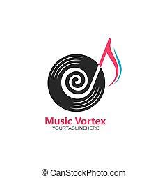 icona, vortice, concetto, disegno, vettore, nota musica