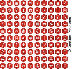 icone, 100, esagono, infanzia, rosso, felice