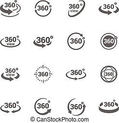 icone, 360 grado, vista