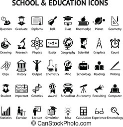 icone, 40, scuola, set, educazione, grande