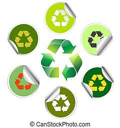 icone, adesivi, riciclare
