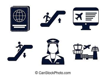 icone, aeroporto, fascio, set
