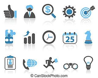 icone, affari blu, set, serie