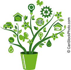 icone, albero 1, -, ecologico