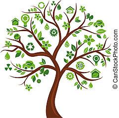 icone, albero 3, -, ecologico
