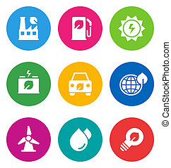 icone, ambientale, colorare