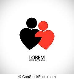 icone, &, amore, -, bonding, vettore, amanti, coppia, concetto, paio