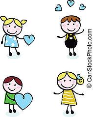 icone, amore, scarabocchiare, retro, isolato, bambini, punto, bianco