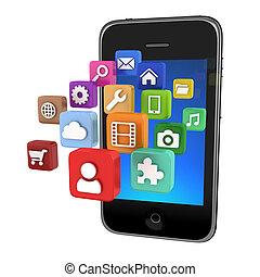 icone, app, smartphone, isolato, -