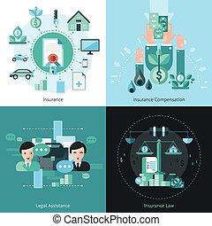 icone, assicurazione affari, set, concetto