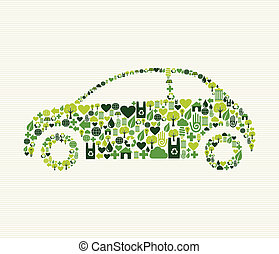 icone, automobile, verde