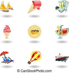 icone, baluginante, estate