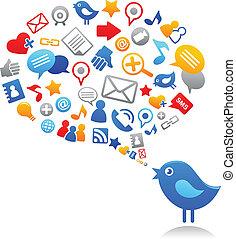 icone, blu, sociale, uccello, media