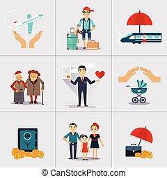 icone, carattere, illustrazione, assicurazione, vettore, template.