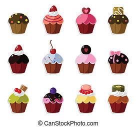 icone, cartone animato, set, torta