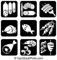icone, cibo, carne