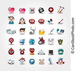 icone, collezione, ospedale, vettore, medico