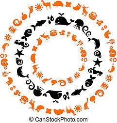 icone, -, collezione, pianeta, ecologico, animale