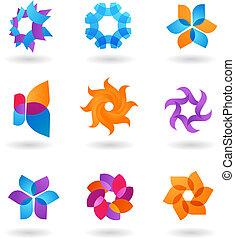 icone, collezione, stella, astratto