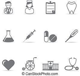 icone, colorare, -, medico, singolo