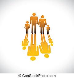 icone, colorare, persone, arancia, illustrazione, padre, figlia, famiglia, figlio, grafico, symbols-, quattro, riflessione, &, madre