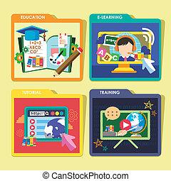 icone, concetti, progetto serie, appartamento, educazione