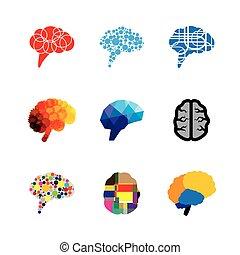 icone concetto, mente, cervello, vettore, logotipo