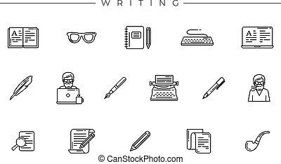 icone concetto, scrittura, linea, vettore, set, stile