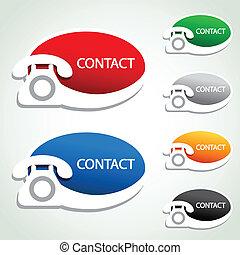 icone, -, contatto, telefono, vettore, adesivi