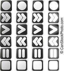 icone, controllo, stati, bianco, pulito, pannello