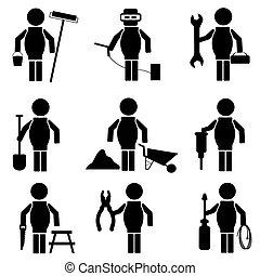icone, costruzione, vettore, set
