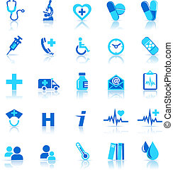 icone, cura, salute