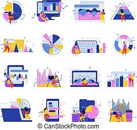 icone, dati, analisi, collezione