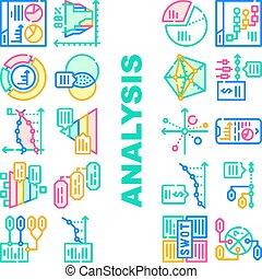 icone, dati, analisi, vettore, diagramma, set, collezione