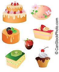 icone, dessert, dolce, set