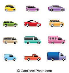 icone, differente, tipi, automobili