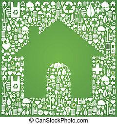 icone, eco, casa, sopra, sfondo verde