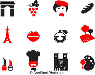 icone, elementi, parigi, themes., cartoon., set, vettore, disegno, francese