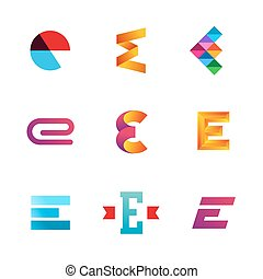 icone, elementi, sagoma, e, logotipo, set, lettera, disegno