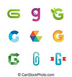icone, elementi, sagoma, logotipo, g, set, lettera, disegno