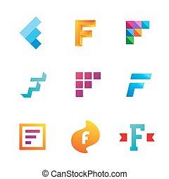 icone, elementi, sagoma, logotipo, set, f, lettera, disegno