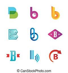 icone, elementi, sagoma, logotipo, set, lettera, disegno, b