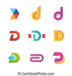 icone, elementi, sagoma, logotipo, set, lettera, disegno, d