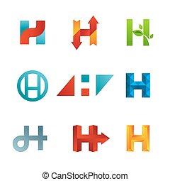icone, elementi, sagoma, logotipo, set, lettera, disegno, h