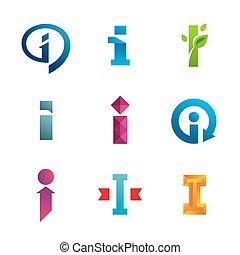 icone, elementi, sagoma, logotipo, set, lettera, disegno