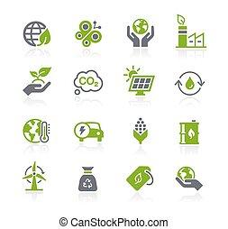 icone, //, energia, serie, rinnovabile, &, ecologia, natura