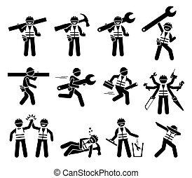 icone, figure, costruzione, uomo tuttofare, set., lavoratore, bastone