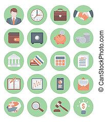 icone, finanziario, affari verdi
