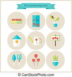 icone, fiori, giardinaggio, set, appartamento