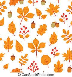 icone, foglia, autunno, seamless, pattern., natura, bianco, berries., floreale, cadere, fondo., foglie, sopra